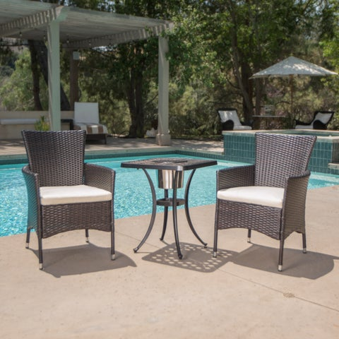 Ava Outdoor 3-piece Aluminum Square Bistro Set with Cushions by Christopher Knight Home