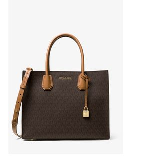 Michael Kors Signature Mercer Brown Canvas Large Convertible Tote