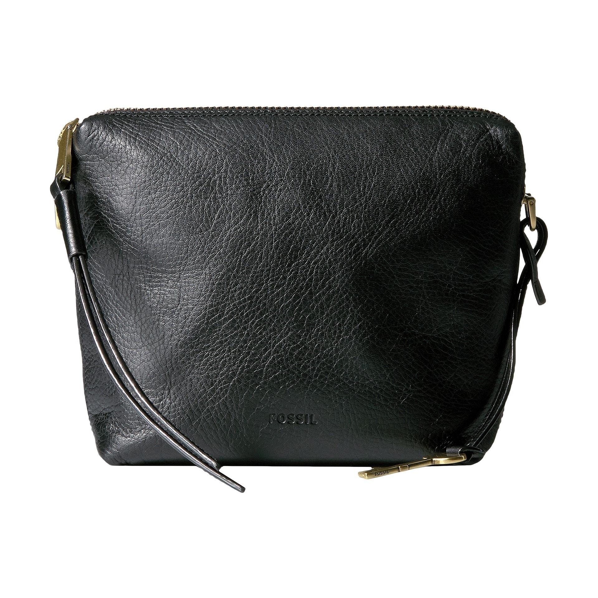 Fossil Maya Black Leather Crossbody Handbag (Black), Women's