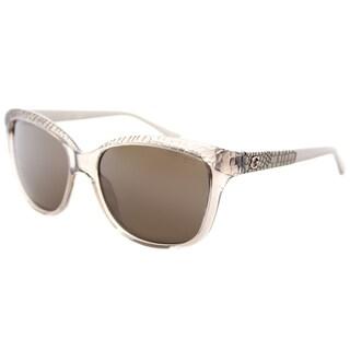 Guess GU 7401 57E Shiny Beige Plastic Square Sunglasses Brown Lens