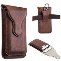 Luxmo Mega 6.3 / Lg G Flex Vertical Dual Phone Universal Leather Pouc
