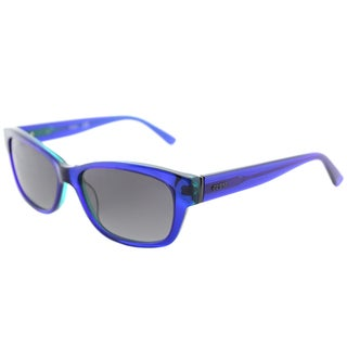 Guess GU 7409 90X Shiny Blue Plastic Cat-Eye Sunglasses Blue Mirror Lens