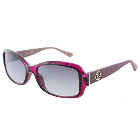 Guess GU 7410 69B Shiny Bordeaux Plastic Oval Sunglasses Grey Gradient Lens