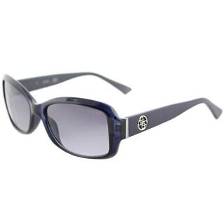 Guess GU 7410 90C Shiny Blue Plastic Oval Sunglasses Grey Mirror Lens