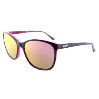 Guess GU 7426 81Z Square Cat-Eye Shiny Violet Plastic Cat-Eye Sunglasses Pink Mirror Lens