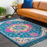 Boho Medallion Tassel Blue Area Rug - 5' x 7'3""