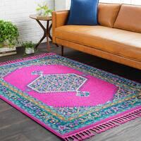 """Boho Medallion Tassel Pink Area Rug (5' x 7'3) - 5' x 7'3"""""""