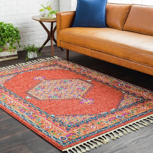 Shop Boho Persian Tassel Orange Area Rug 5 X 7 3 5 X 7 3 On