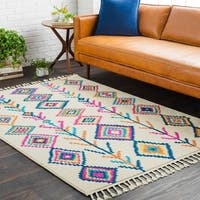 Boho Moroccan Tassel Multi Colored Area Rug - 5' x 7'3""