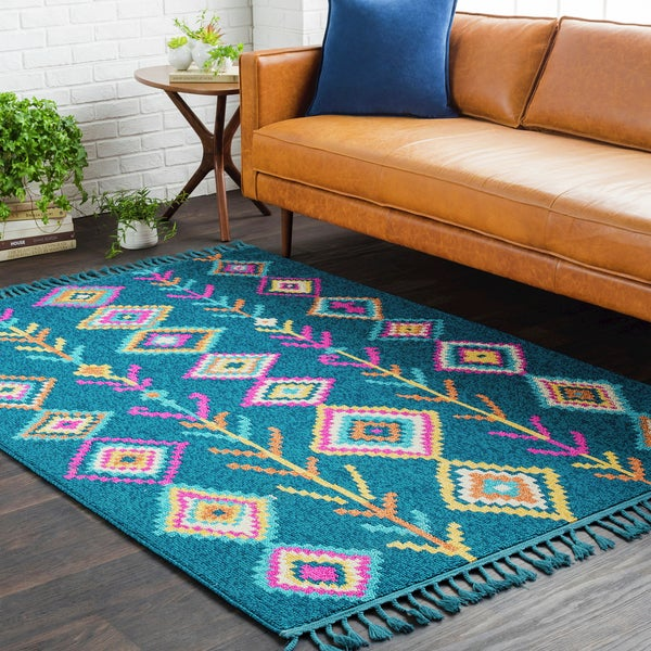 Shop Boho Moroccan Tassel Blue Area Rug (5' X 7'3)