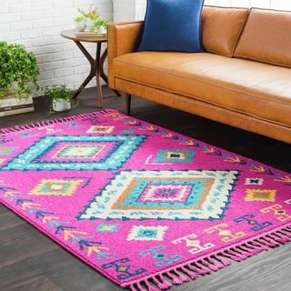 "Boho Pink Moroccan Tassel Area Rug (5' x 7'3) - 5' x 7'3"""