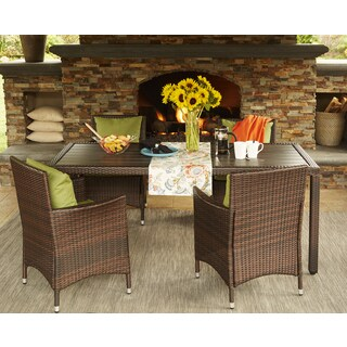 Handy Living Aldrich Brown Indoor/Outdoor 5 Piece Rectangle Dining Set with Sunbrella Cilantro Cushions