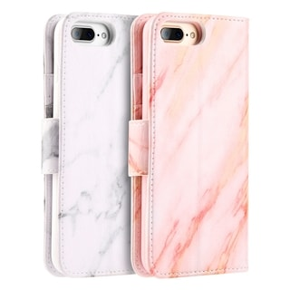 Apple Iphone 7 Plus Marble Wallet Pouch Case With Card Slots Pink