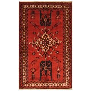 Herat Oriental Persian Hand-knotted Balouchi Wool Rug (4' x 6'6)
