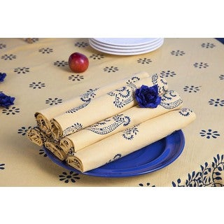 Handmade Canary Paisley Midnight Handmade Napkin Set of 2 (India)