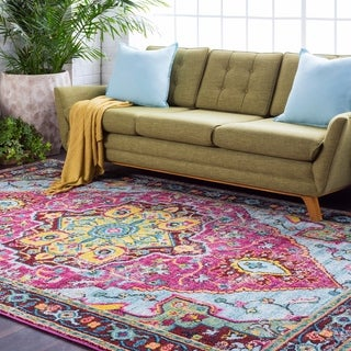 Persian Vintage Distressed Pink and Blue (7'10 x 10'3)
