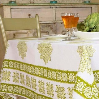Handmade Sage Midori Hand Block Printed Table Cloth (India)