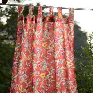 Handmade Bird Coral Curtain Panel 110x210 (India)