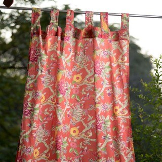 Handmade Bird Coral Curtain Panel 110x210 (India)