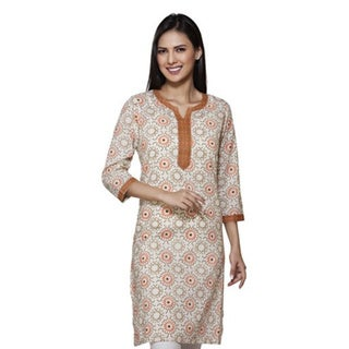 Handmade In-Sattva Womens Indian Ethnic Contrast Yoke Kurta Tunic (India) (3 options available)