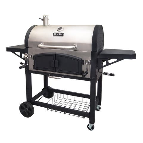 Dyna-Glo Silver/Black Porcelain/Cast Iron X-Large Premium Dual Chamber Charcoal Grill