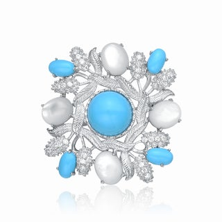 Collette Z Sterling Silver Cubic Zirconia Blue and Pearl Pin