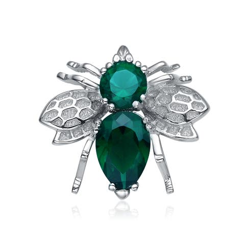 Collette Z Sterling Silver Cubic Zirconia Teal Bug Pin - Green