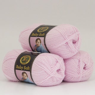 Lion Brand Yarn Baby Soft Baby Pink Pompadour 920-201 3 Pack Baby Yarn