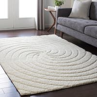 Soft Swirly Shag White Area Rug - 7'10 x 10'3