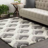 Carson Carrington Charlottenlund Soft Patterned Shag White and Grey Area Rug (7'10 x 10'3)