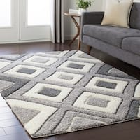 "Soft Geometric Shag Grey and White Area Rug - 7'10"" x 10'3"""