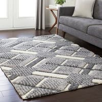 Soft Plaid Shag Grey Area Rug (7'10 x 10'3)