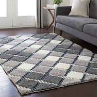 Soft Plaid Shag Grey Area Rug - 7'10 x 10'3