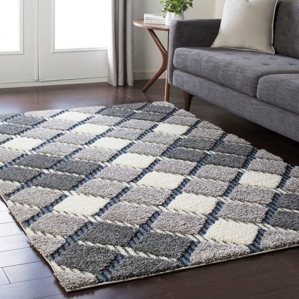 Shop Soft Plaid Shag Grey Area Rug 7 10 Quot X 10 3 Quot On