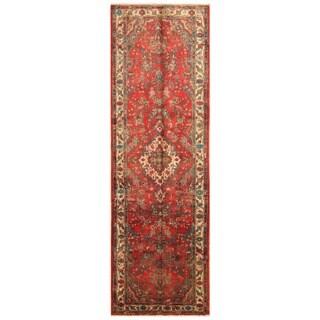 Handmade Herat Oriental Persian Hamadan Wool Runner - 3'5 x 10'8 (Iran)
