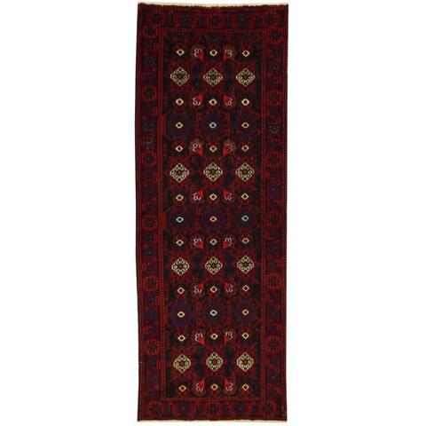 Handmade Herat Oriental Persian Balouchi Wool Runner - 3'5 x 9'8 (Iran)