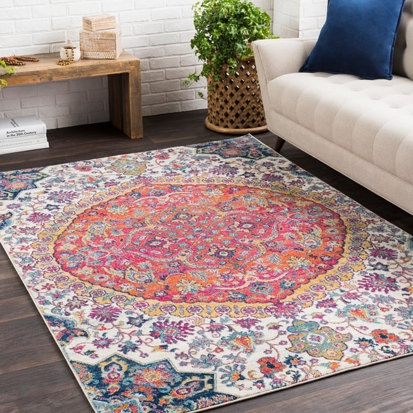shop annie pink ivory bohemian medallion area rug 7 39 10 x 10 39 3 on sale free shipping. Black Bedroom Furniture Sets. Home Design Ideas
