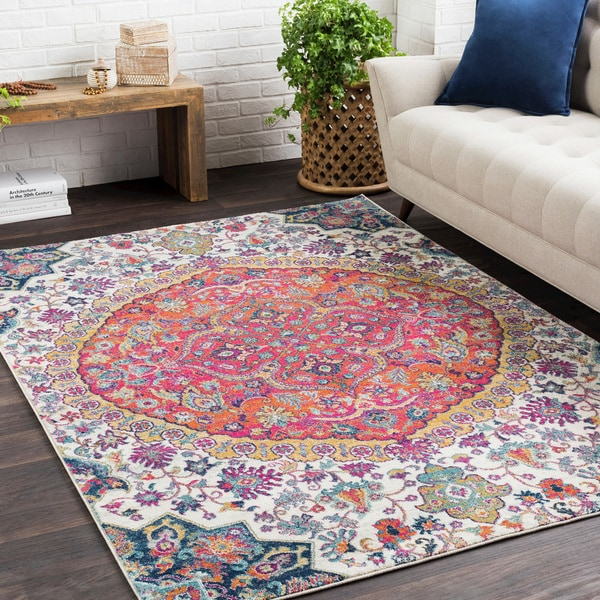 Annie Pink & Ivory Bohemian Medallion Area Rug (7\'10 x 10\'3) - Free ...