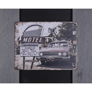 Hobbitholeco 'Motel' 19 x 23-inch Metal Wall Art in Wood Frame