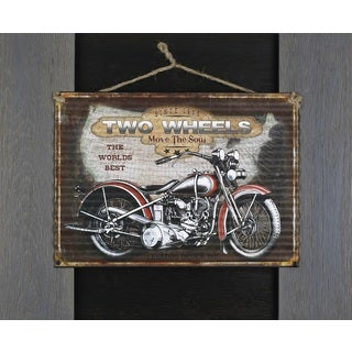 Hobbitholeco 'Two Wheels' 19 x 23-inch Metal Wall Art in Wood Frame