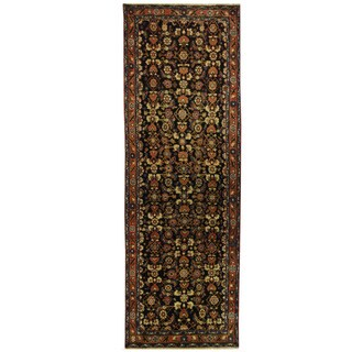 Herat Oriental Persian Hand-knotted Hamadan Wool Runner (3'5 x 10'2) - 3'5 x 10'2