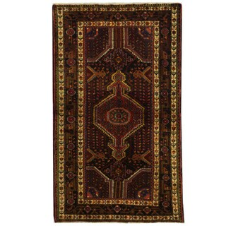 Herat Oriental Persian Hand-knotted Hamadan Wool Rug (4'4 x 7'6)