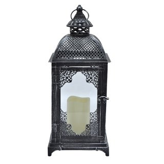 Three Hands Metal Lantern With LED Candle