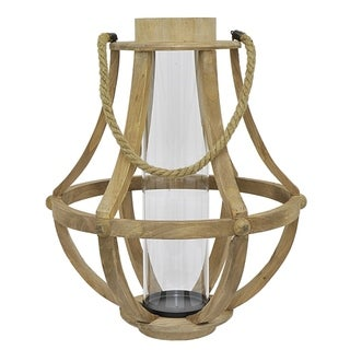 Three Hands Wood Glass Lantern