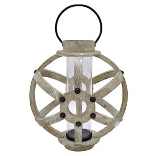 Three Hands Brown Wood Lantern