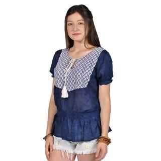 Manhattan Blues Short Sleeved Tassle Peplum Top