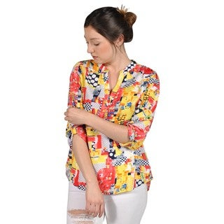 Manhattan Blues Yellow and Red Print V-Neck Long Back Chiffon Blouse