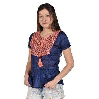 Manhattan Blues Short Sleeved Tassled Peplum Top