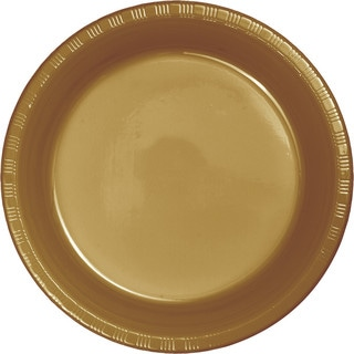 Touch of Color Premium Plastic Luncheon Plates Glittering Gold ,Case of 240