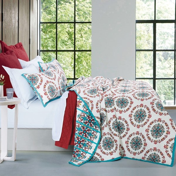 HiEnd Accents Sonora White, Red, and Teal Quilt Set - Free ... : teal quilt set - Adamdwight.com